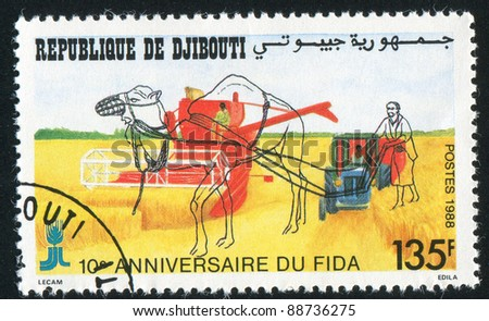 DJIBOUTI - CIRCA 1988: A stamp printed by Djibouti, shows Internationa Fund for Agricultural Development, circa 1988