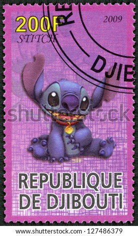 DJIBOUTI CIRCA 2009 A stamp printed in Republic of Djibouti shows Scenes from Walt Disney's Lilo and Stitch circa 2009