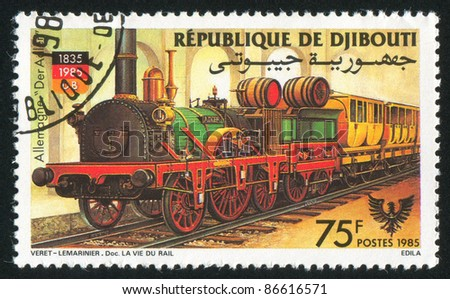 DJIBOUTI - CIRCA 1985: stamp printed by Djibouti, shows locomotive, circa 1985