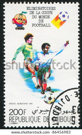 DJIBOUTI - CIRCA 1981: stamp printed by Djibouti, shows soccer, circa 1981 - stock photo
