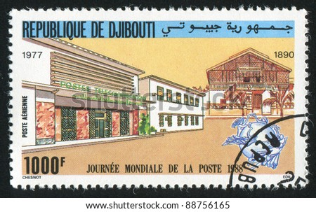 DJIBOUTI CIRCA 1988: stamp printed by Djibouti, shows World Post Day, circa 1988