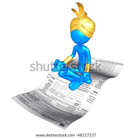 Djinn On Magic Carpet Tax Form - stock photo