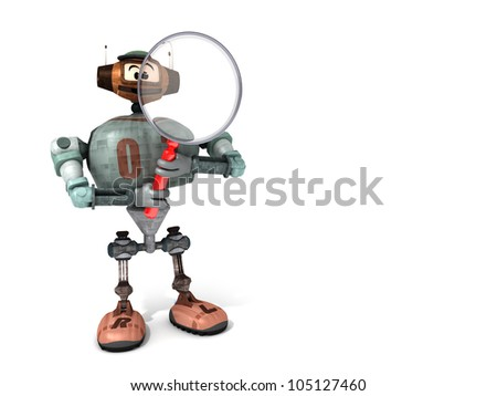 Djoby the Robot Looking Through a Magnifying Glass with a White Background