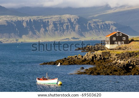 Djupivogur small fishing town in Iceland. Summer day. - stock photo