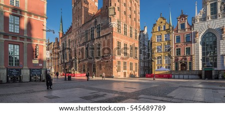 Dlugi Targ street, Main City, Gdansk, Poland-October 16, 2016: A broad, short, rebuilt after WWII street, runs from Dluga street to the Green Gate on river Motlava, the Royal Way final stretch.    #545689789