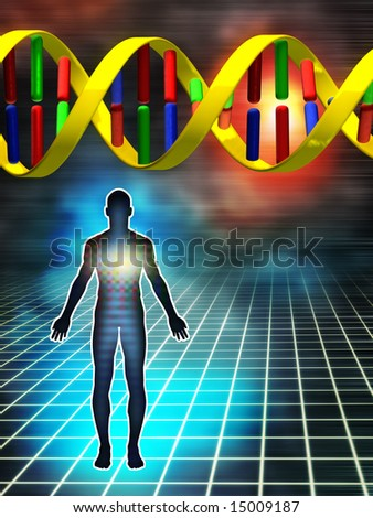Dna as the building block of human being. Digital illustration. - stock photo