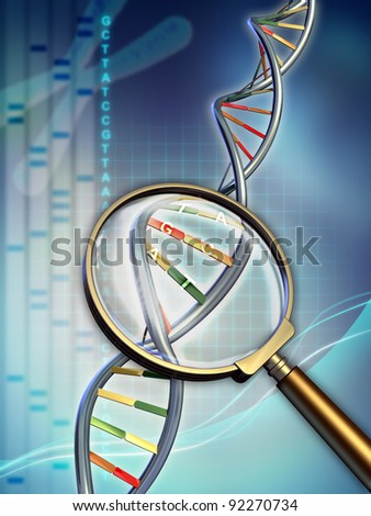 Dna chain examined under a magnifying glass. Digital illustration.
