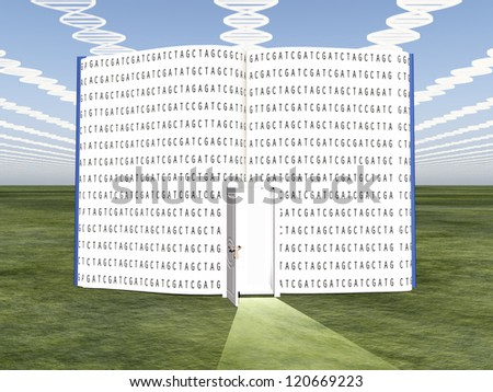 DNA clouds with open book of life