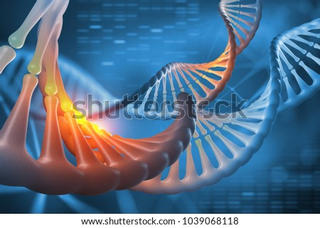 DNA. 3D illustration decoding genome sequence. Scientific studies of structure of DNA molecule. Helix decomposing. Modern, clean design in high resolution