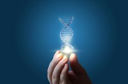 DNA in hand on blue background concept design.