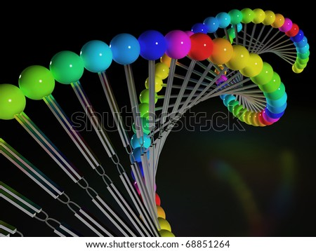 DNA is made of multicolored beads and metal partitions on a black background â??3