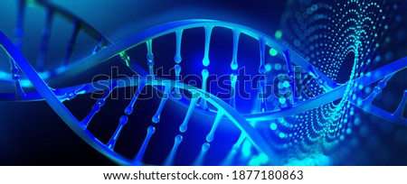 DNA model 3D illustration. Genetic engineering, genome decoding. Medicine, biology, chemistry and molecular research Photo stock ©