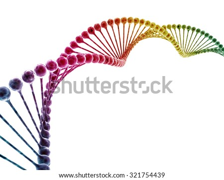 DNA multi color isolated on white background