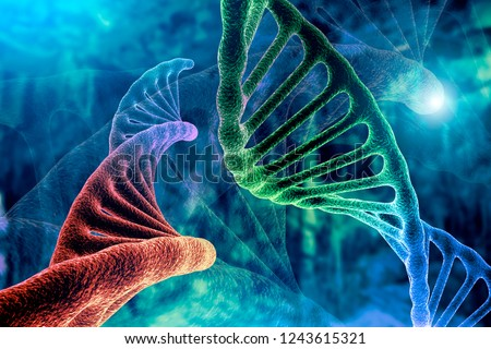 DNA strand and Cancer Cell Oncology Research Concept 3D rendering, abstract background, mixing of two structures,