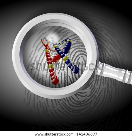 DNA strand coming out from fingerprint under magnifying glass / Fingerprint and DNA - stock photo