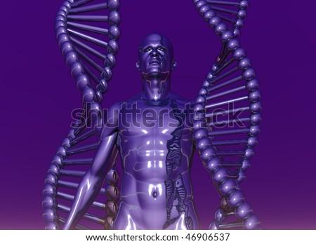 Dna strands and human body on violet background 3d illustration