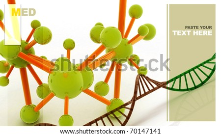 Dna with molecules in abstract background