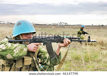 DNEPROPETROVSK REGION, UKRAINE - SEPTEMBER 21: Soldiers show their skills  during the military drills on September 21, 2007 in in Dnepropetrovsk region, Ukraine