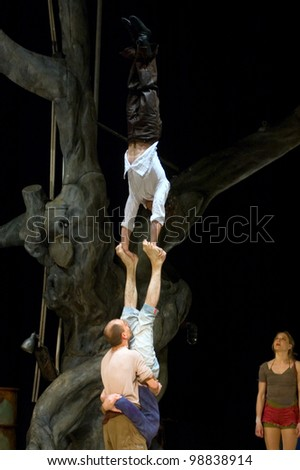 """DNEPROPETROVSK, UKRAINE - APRIL 7: Members of the theatre of the Embassy of  France in Ukraine perform """"Roots"""" at  State Russian Drama Theatre on April 7, 2011 in Dnepropetrovsk, Ukraine"""