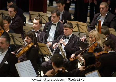 "DNEPROPETROVSK, UKRAINE - DECEMBER 26: ""Christmas Oratorio"" by metropolitan Hilarion  performed by Symphony Orchestra of the Kharkov Philharmonic on December 26, 2011 in Dnepropetrovsk, Ukraine"