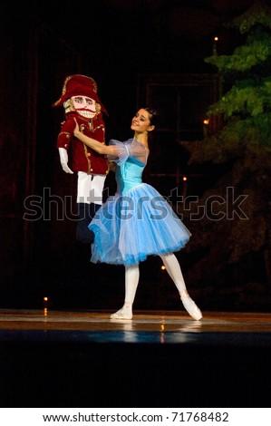 DNEPROPETROVSK, UKRAINE - FEBRUARY 18: The Nutcracker ballet is performed by Dnepropetrovsk Opera and Ballet Theatre ballet on February 18, 2011 in Dnepropetrovsk, Ukraine.