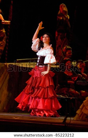 """DNEPROPETROVSK, UKRAINE  JUNE 3: Members of the Dnepropetrovsk State Opera and Ballet Theatre perform """" Carmen """" on June 3, 2011 in Dnepropetrovsk, Ukraine"""