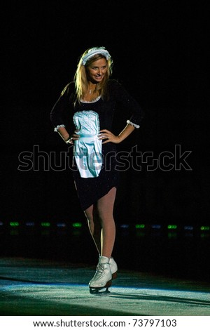 DNEPROPETROVSK, UKRAINE - MAY 19: Tatiana Navka  performs during the Stars on Ice show on May 19, 2007 in Dnepropetrovsk, Ukraine.