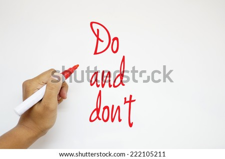 Do and don't sign on whiteboard