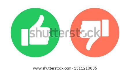 Do and Don't symbols. Thumbs up and thumbs down circle emblems.