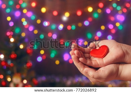 Do good things. Create well deeds. Charity and miracle. Christmas and New year mood. Festive background. To make people happy. Xmas miracle. Charitable foundation. Helping hand. Give love. Holiday.