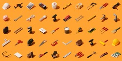 Do it yourself, construction and home renovation background with isometric tools and objects