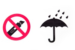 Do not cut with a cutter knife. Protect from rain symbol