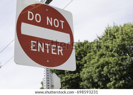 do not enter sign in a city