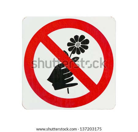 Do not pick flower sign,red cycle color - stock photo