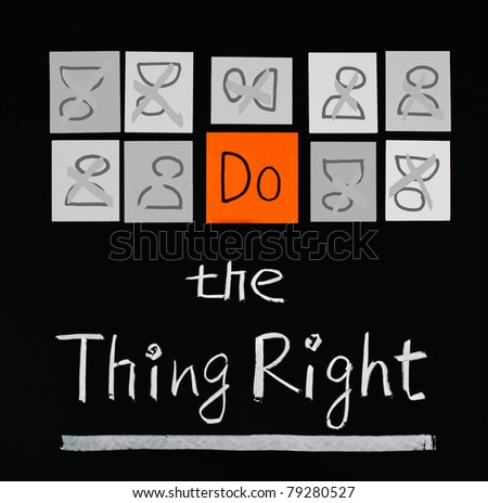 Do the thing right, paper cards and words on blackboard.