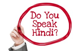 Do You Speak Hindi ? Man writing text isolated on white