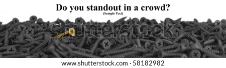 Do You Standout In A Crowd?  Suitable for website banner.  Macro of one brass screw in a pile of black screws isolated on white with copy space. Shallow DOF.