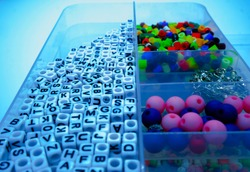 Do your own box with beads. DIY box for texting beads and colorfull tools. Orginized diy beads tools, staffs. do it yourself. bracelett and neckless.