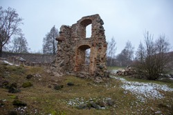 Dobele Castle ruins in winter, the historical region of Zemgale, in Latvia, was built in 1335 by the Livonian ordern.