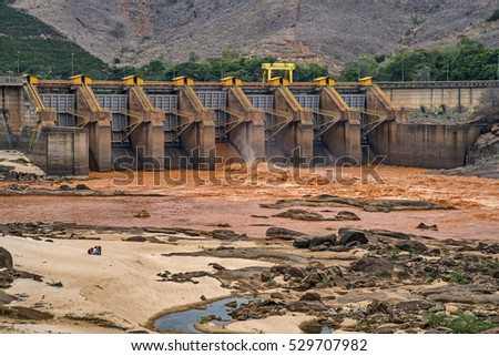 Doce River, river of mud in 'Minas Gerais', Brazil, Mariana disaster by Samarco.