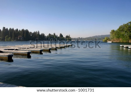 Dock in Lake Arrowhead, CA early in the day.