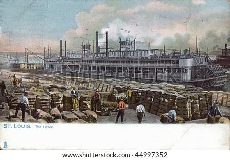 Dock scene paddle wheel steam ship historic postcard 1907