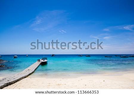dock walk way and blue sky on the island,thailand