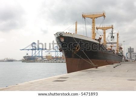 Docked container cargo ship