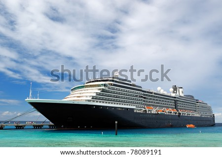 Docked cruise ship - stock photo
