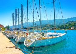 Docked sailing boats in Poros island in Greece