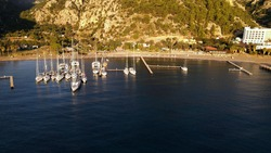 Docking Sail Yachts To Berth In Sea Bay Aerial View