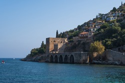 Dockyard and arsenal in Alanya on a beautiful, sunny day, Turkey. August 2020