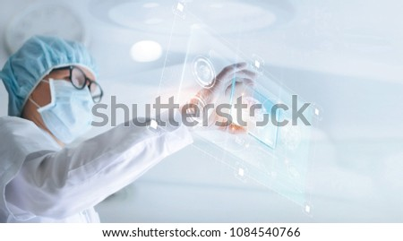Doctor analyze and checking brain testing result with virtual computer interface, innovative technology in science and medicine concept