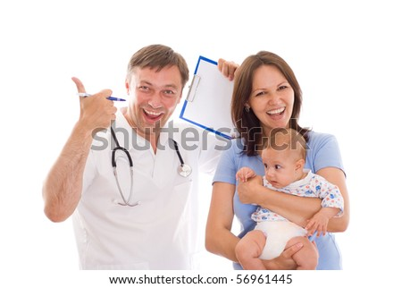 doctor and a woman with a newborn on a white background